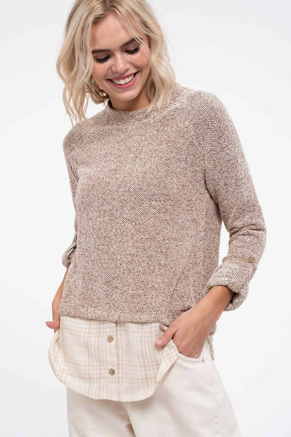 Contrast Fabric Knit Top