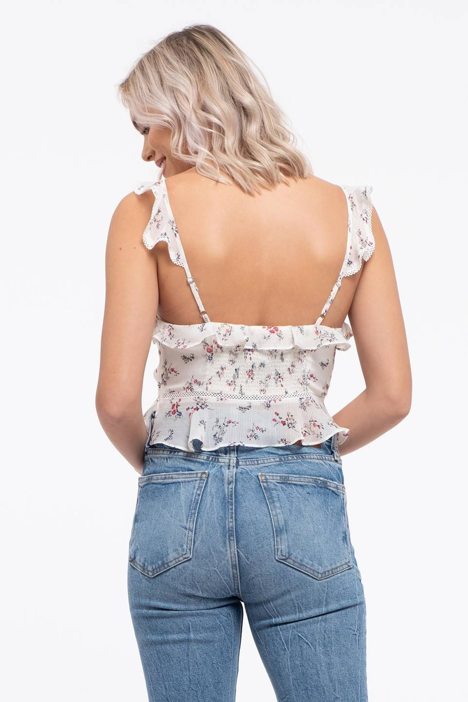 Ruched Front Floral Print Top