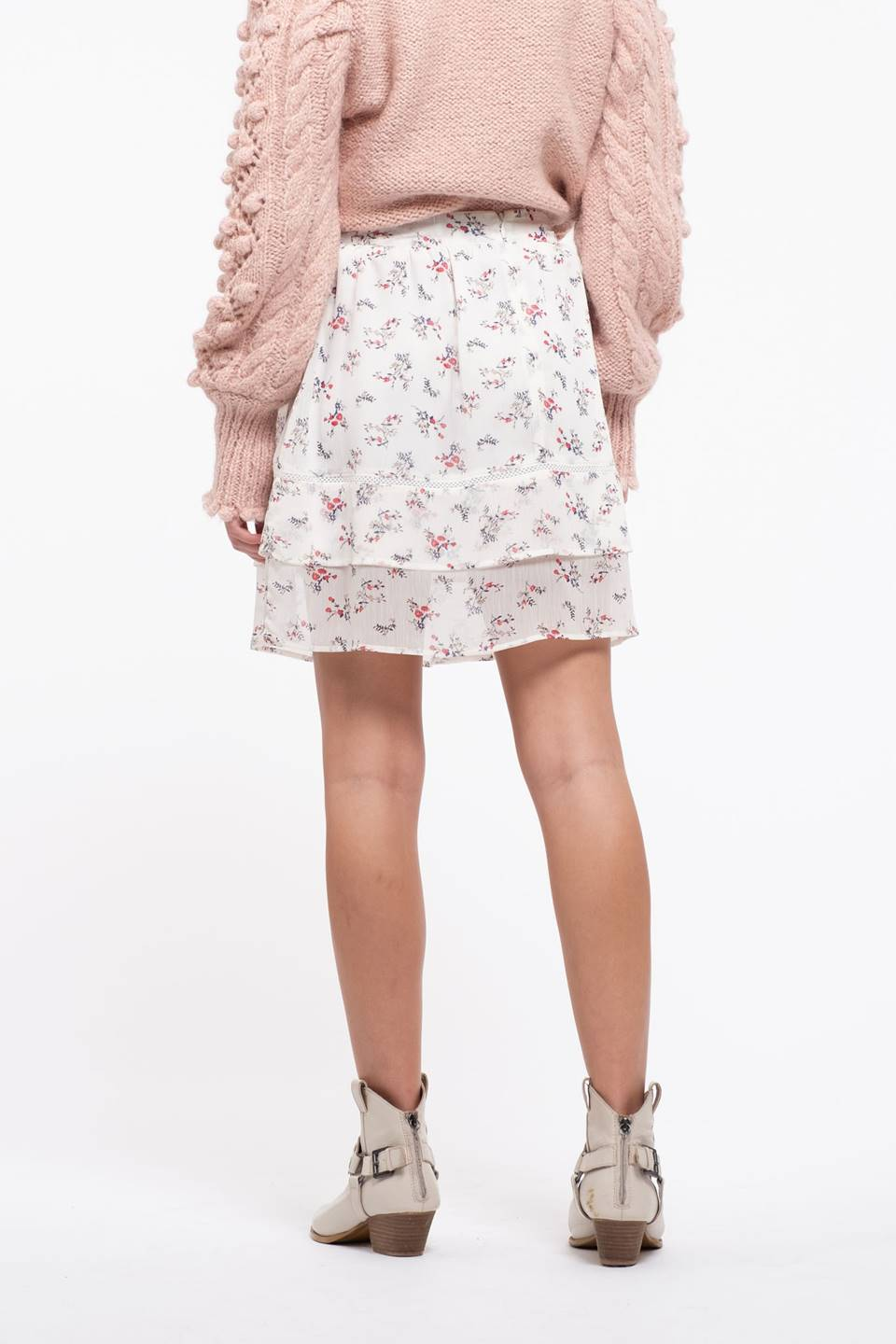 Floral Tiered Woven Skirt