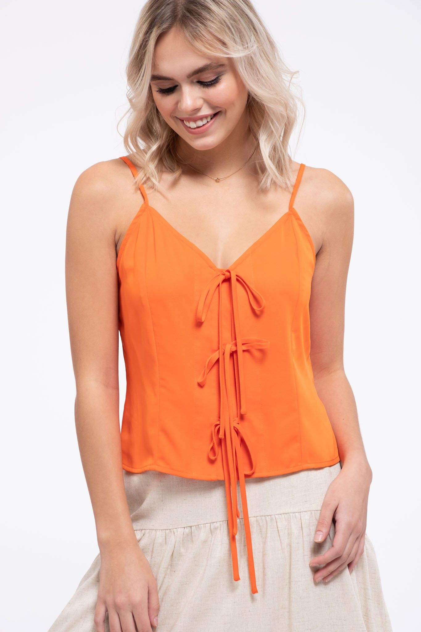 WOVEN CAMI WITH TRIPLE TIES