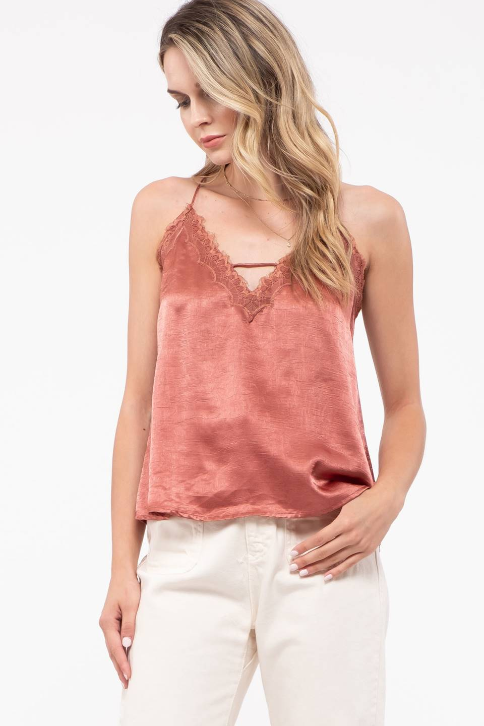 Woven Lace Trim Accent Top