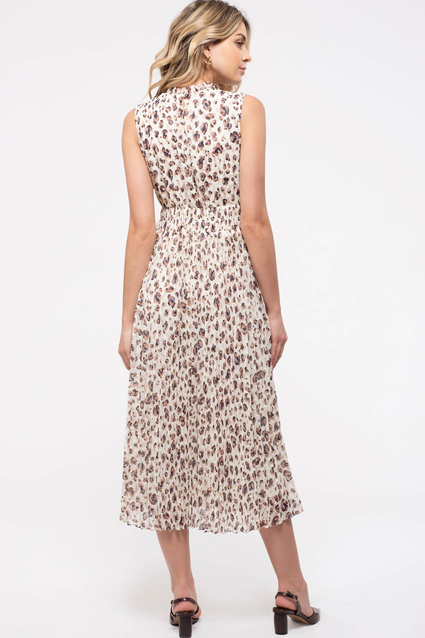 Swiss Dot Leopard Midi-Dress