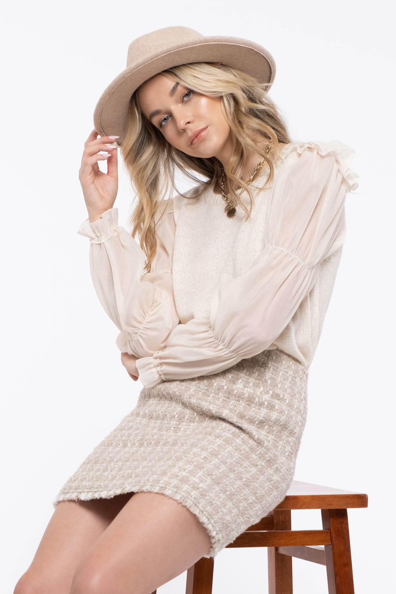 Contrast Sleeve Sweater Top