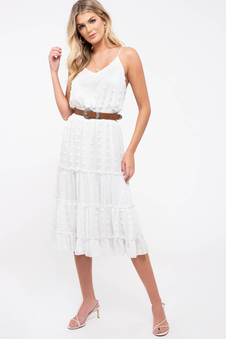Tiered Pom-Pom Dot Midi-Dress