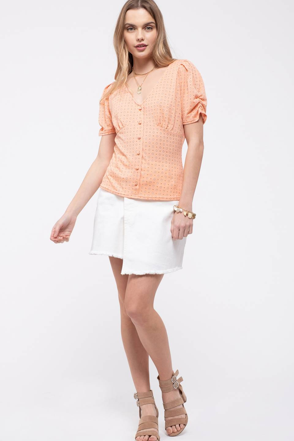 V-NECK DRAPED SLEEVE BUTTON DOWN TOP