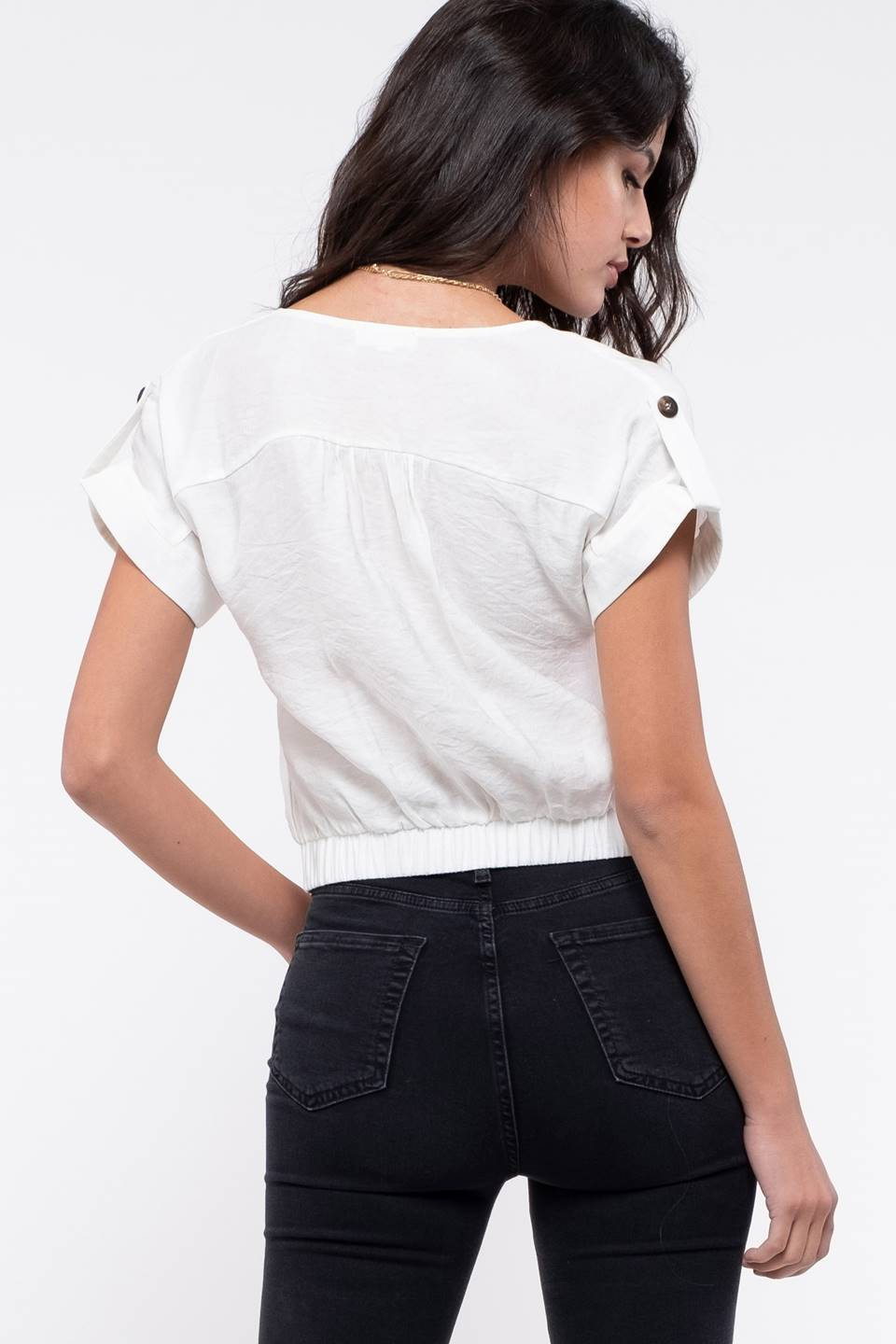 ROLLED SLEEVE BUTTON-FRONT TOP