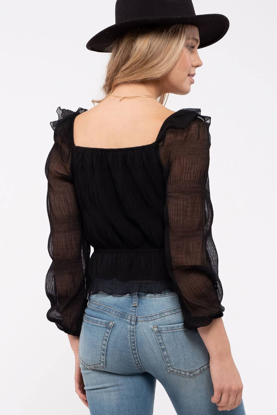 SQUARE NECK 3/4SLEEVE PEPLUM TOP