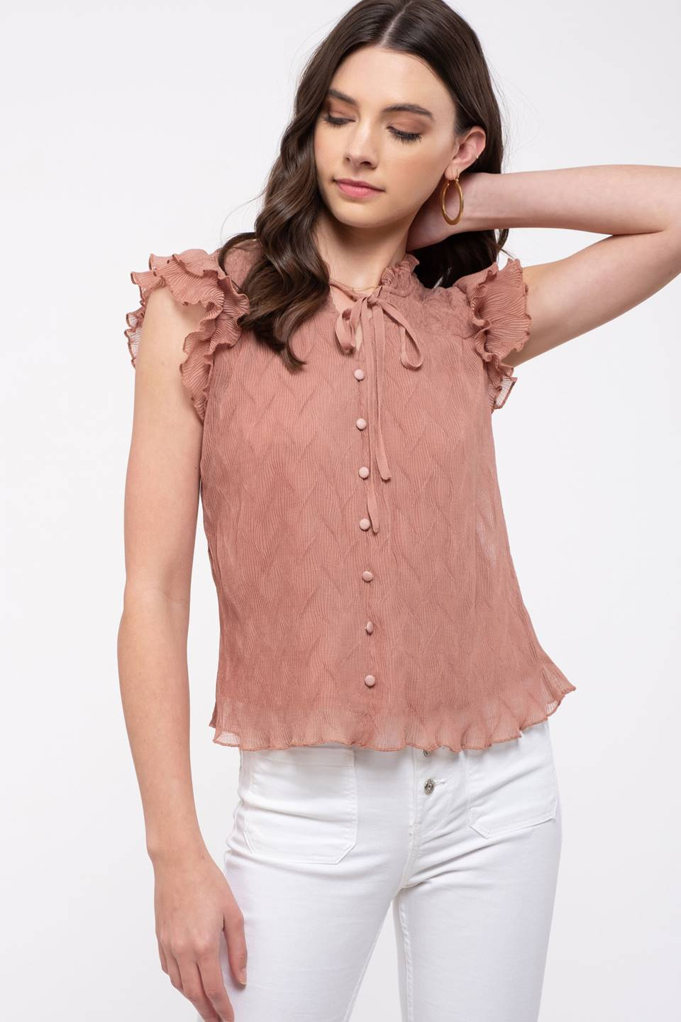 Textured flutter sleeve top
