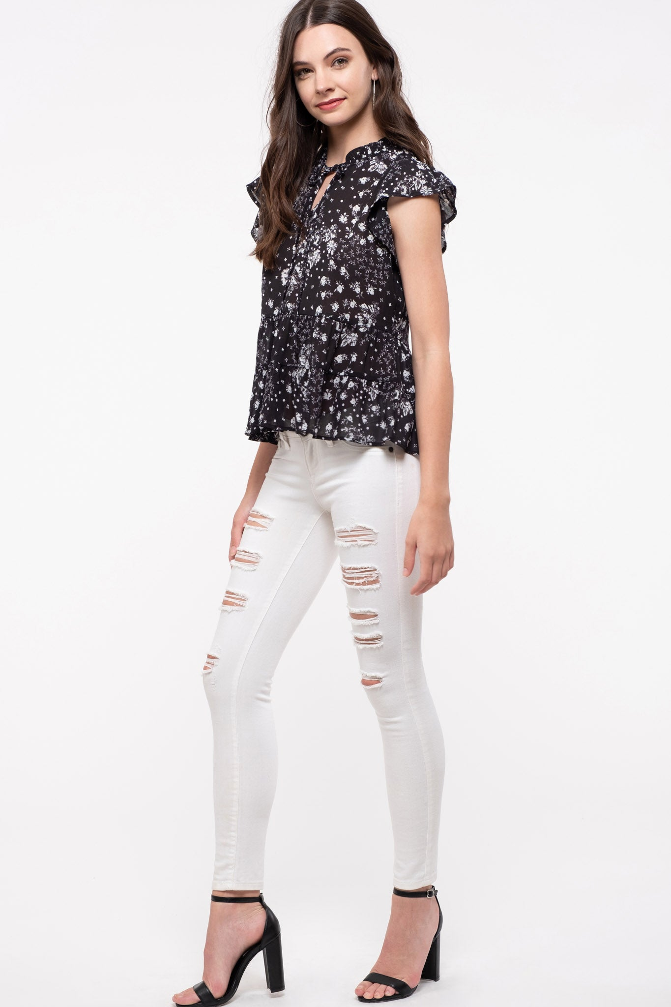 Key-Hole Neck Patch Work Printed Top