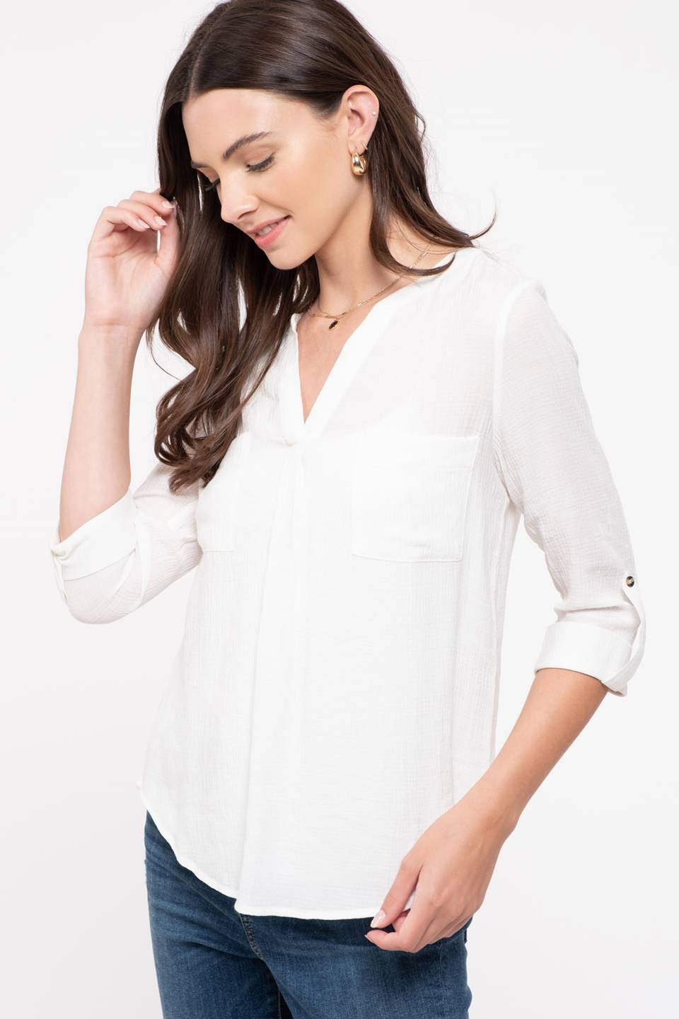 V-Neck Roll Up Sleeve Woven Shirt