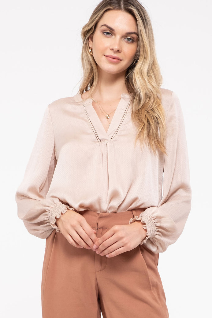 ROUND NECK BOUND KEY HOLE LONG SLEEVE WOVEN TOP
