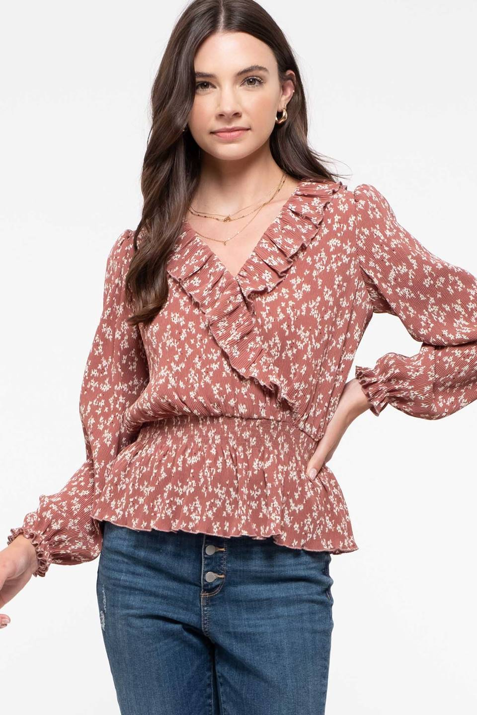 Surplice Neck Smocked Waist Top