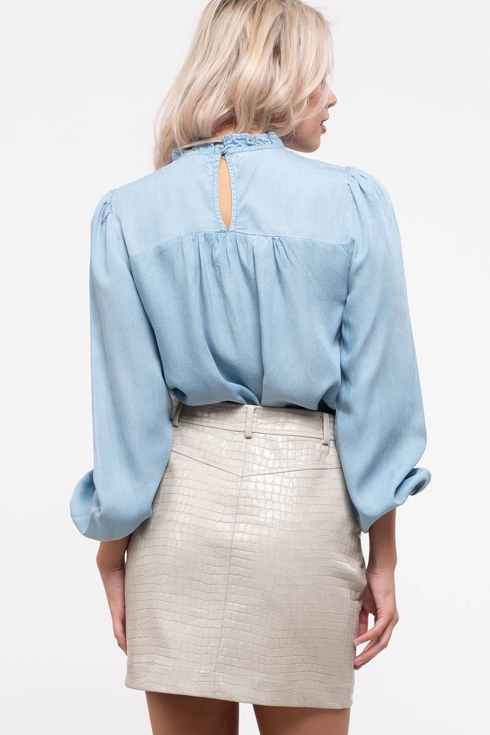 Smocked Front Yoke Chambray Top