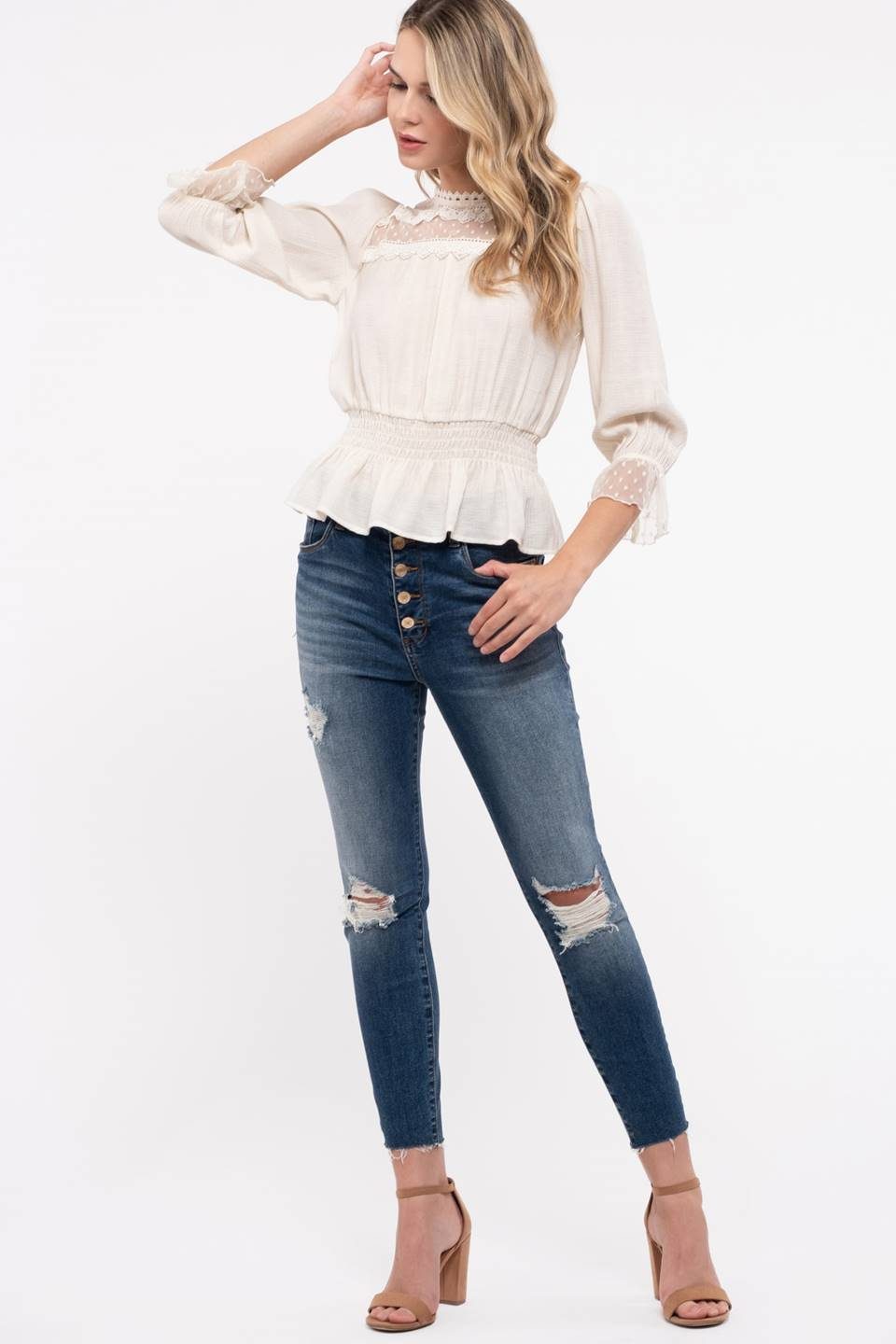 CONTRASTING LACE YOKE 3/4 SLEEVE TOP