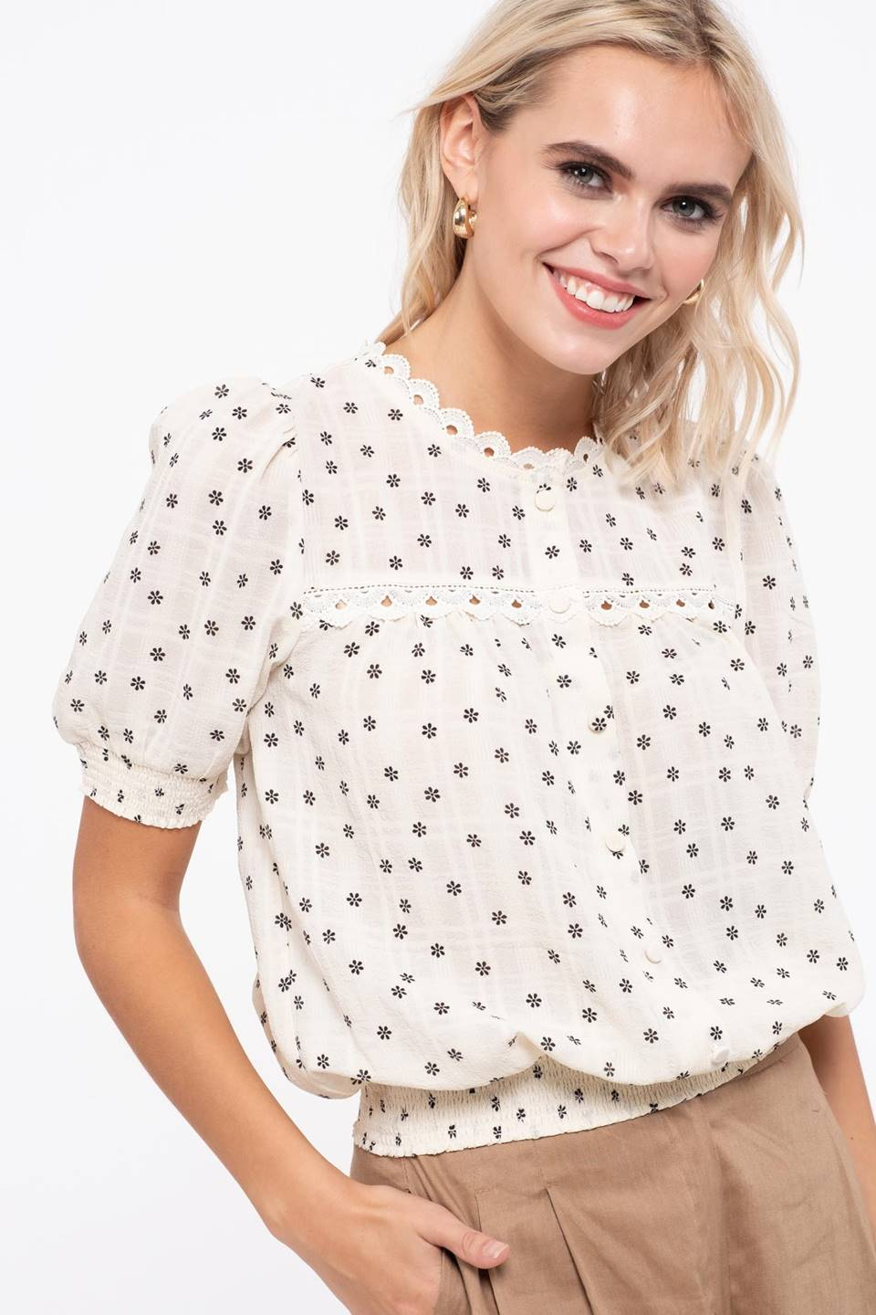 FLORAL PRINT WOVEN TOP