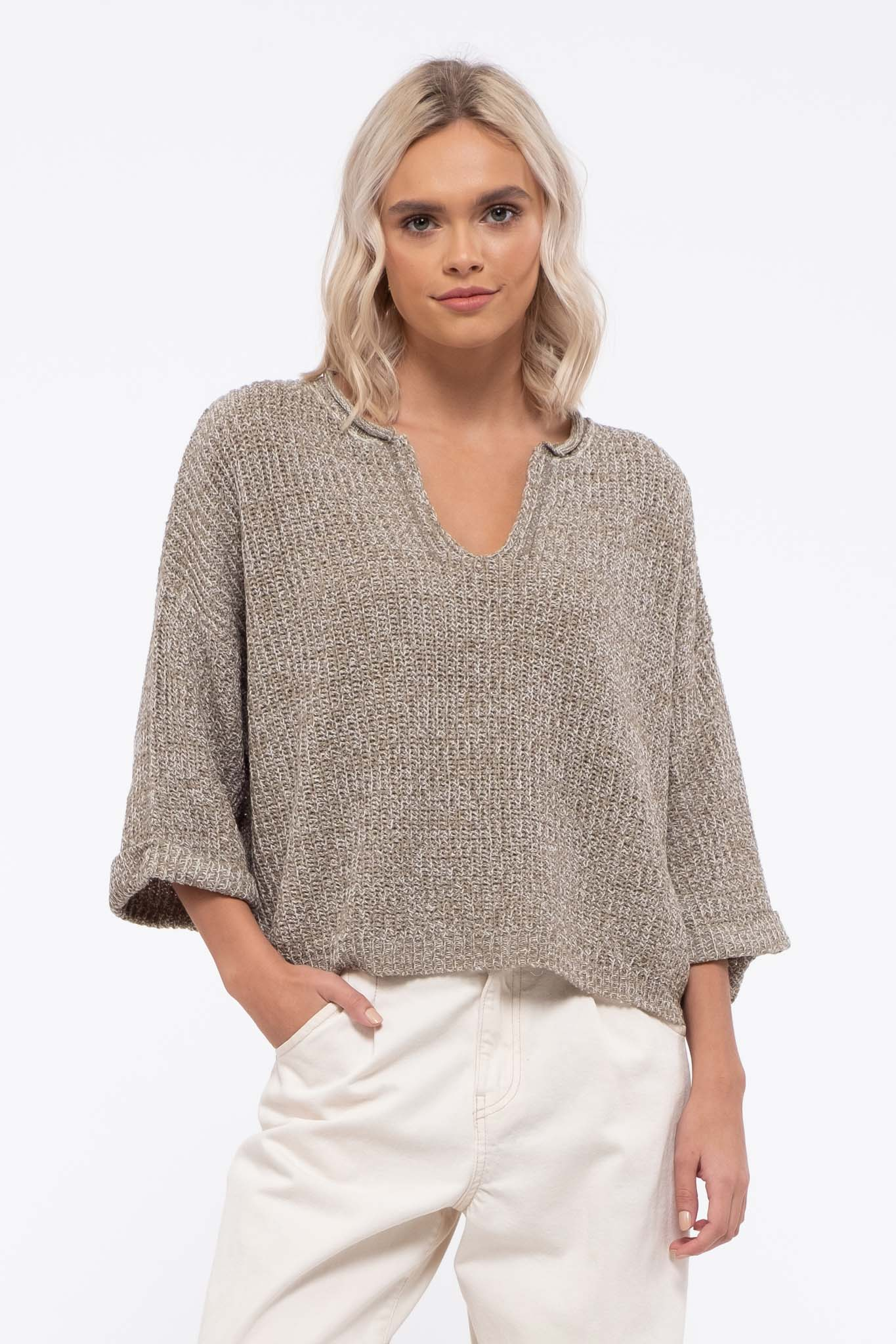 Split Neck Sweater Top