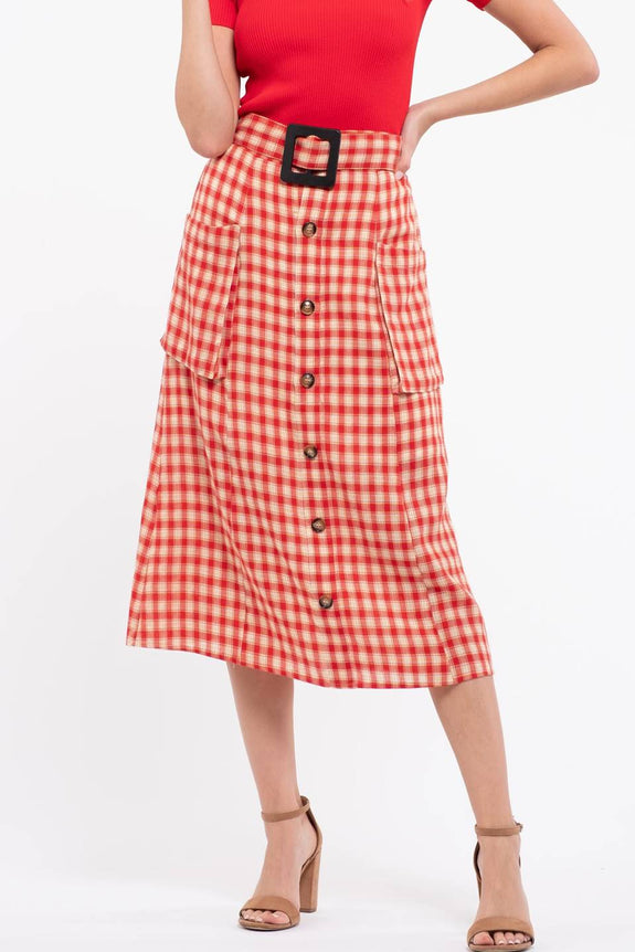 Gingham Front Button Midi Skirt