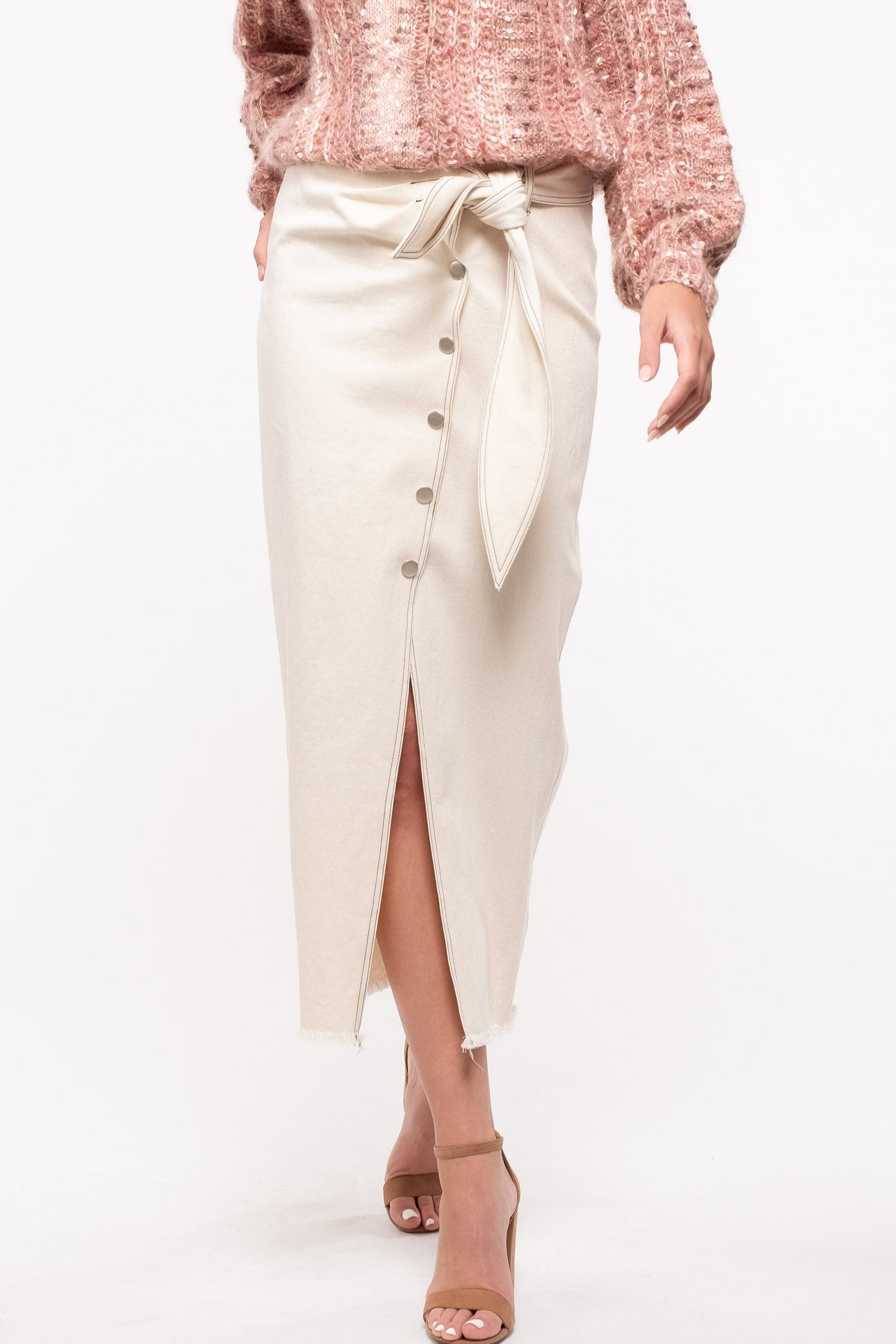 Cotton Stretch Midi-Skirt