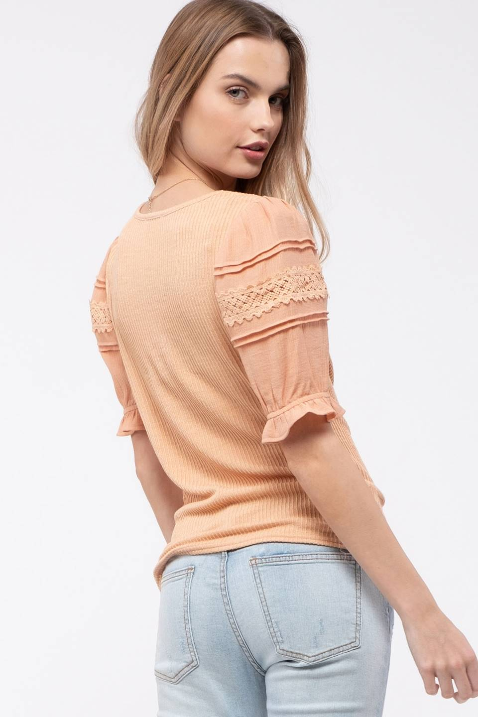 Sleeve Contrast Knit Top