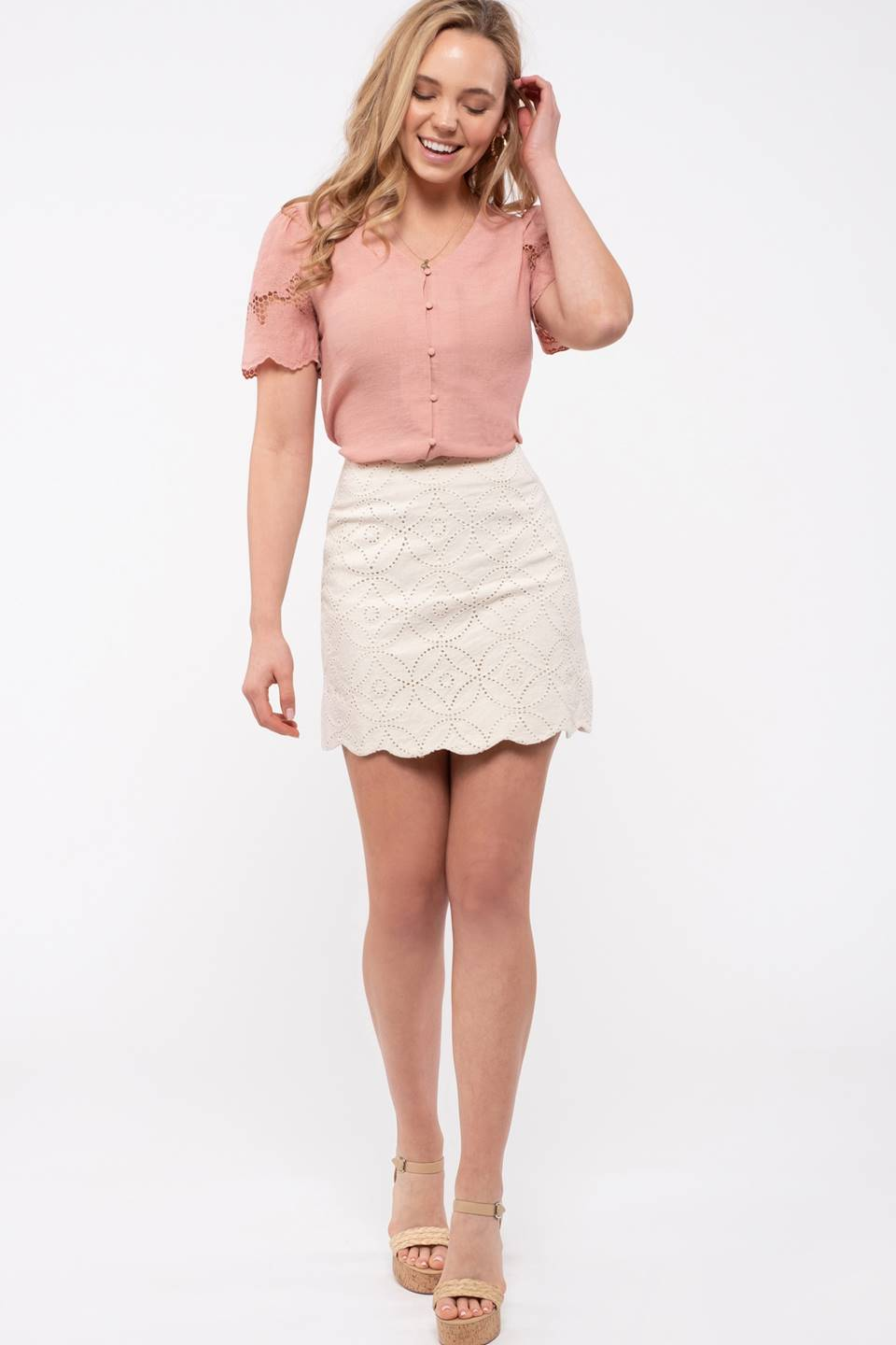 Embroidery Combination Mini Skirt