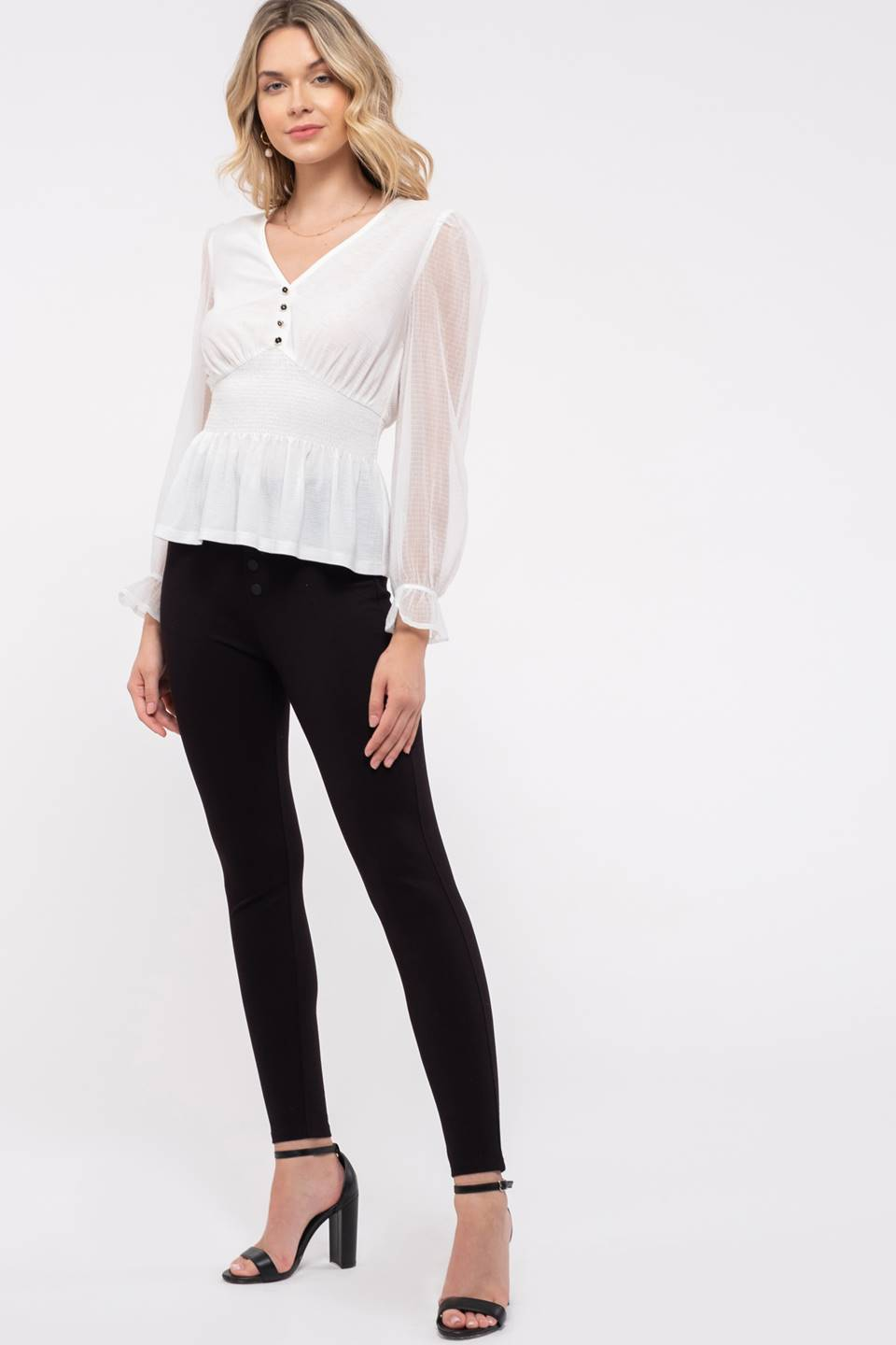 V-neck Pointed Waist Knit Top