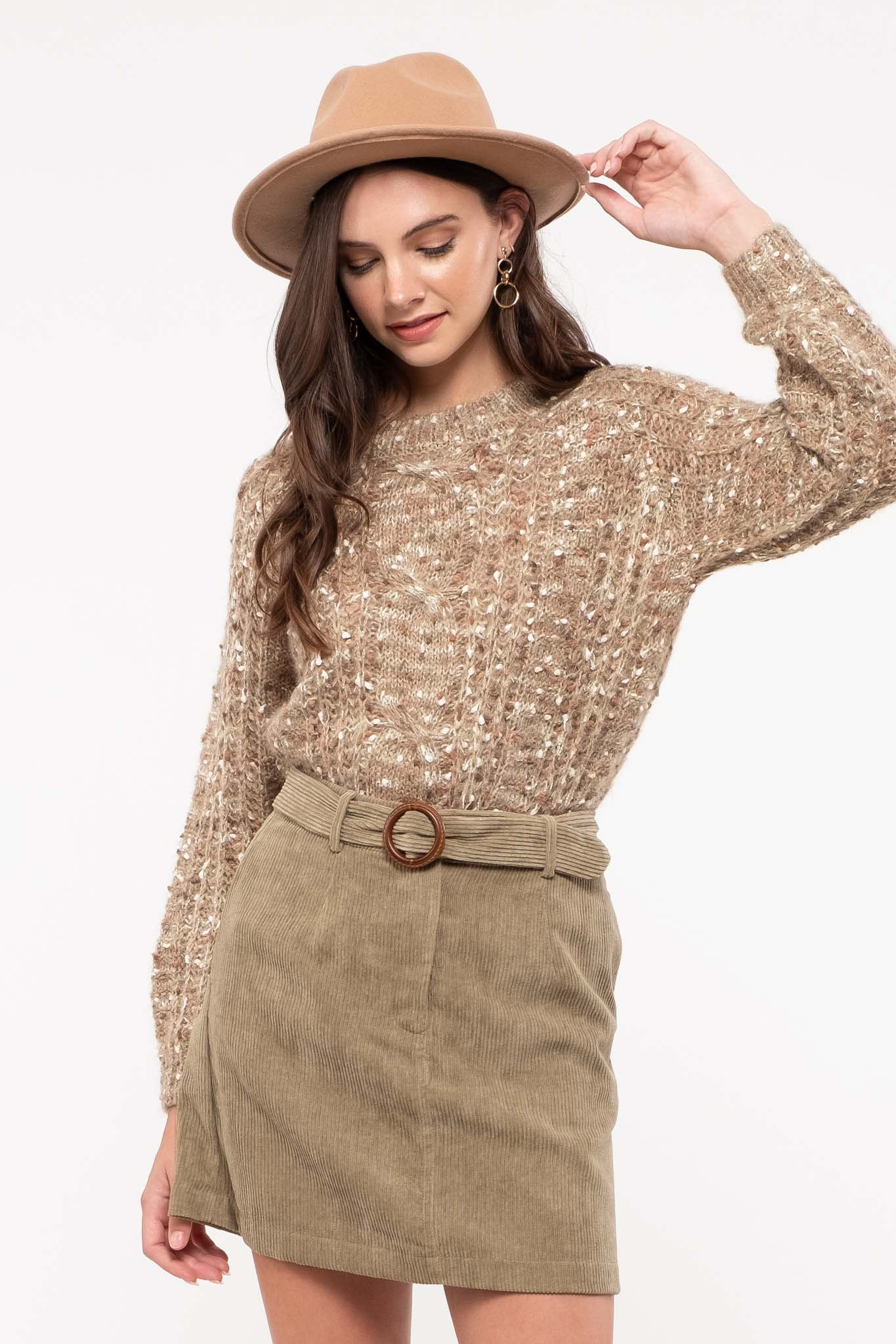 Textured Cable Sweater Top
