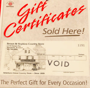 Online Purchase Use ONLY ~ Brown & Hopkins E-Gift Certificate ~ NOT for use In Store