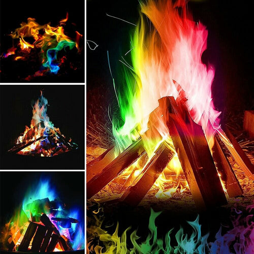 Add colorful dancing flames to your indoor or outdoor wood fire with these Cosmic Magical Flames!