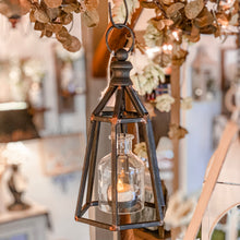 Load image into Gallery viewer, Geometric Metal Votive Lanterns are a fantastic accent for any style. These vintage looking lanterns hold one votive candle