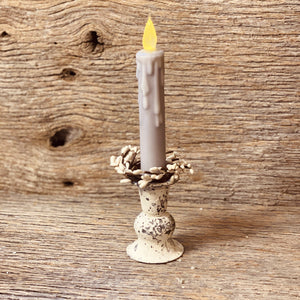 White Rustic Taper Candle Holder