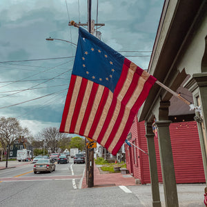 Made from a Nylon / Polyester blend these Primitive USA flags are perfect for hanging on a house, door, shed, barn, or just about anywhere you can think of!Each flag has the historic 13 star Betsy Ross design.