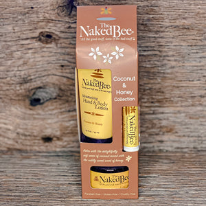 Each The Naked Bee Gift set comes with Hand & Body Lotion, an Ultra-Rich Body Butter, and Organic Lip Balm..