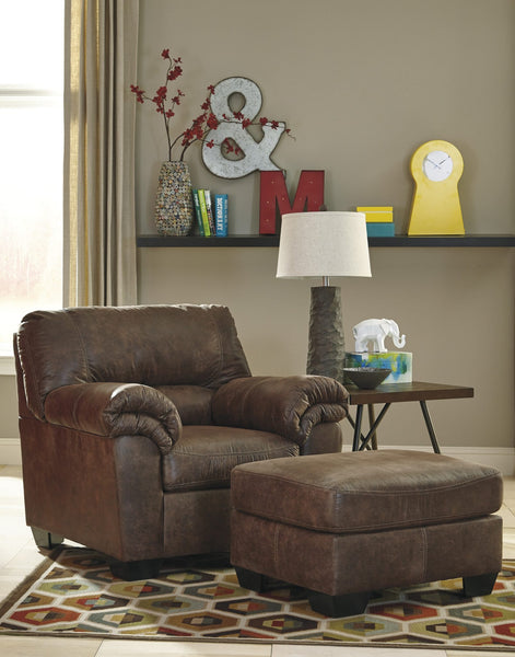 Ashley 120 Bladen Chair and Ottoman - Coffee