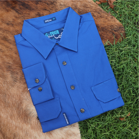 GFOUR BRAND 'The Mackenzie' Women's Half Button Workshirt - Royal Blue