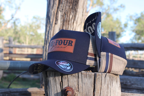 GFOUR Brand High Profile Trucker Cap - Leather Patch - Navy