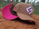 GFOUR Brand High Profile Full Fabric Cap- Coffee & Pink