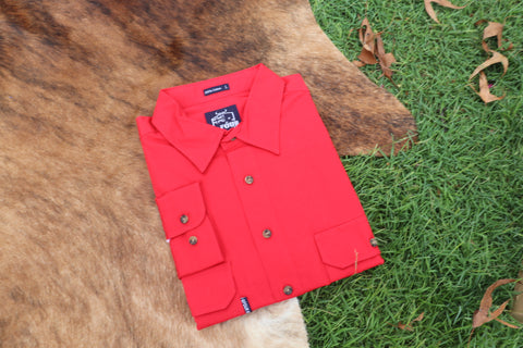 GFOUR Brand 'The Dawson' Mens Half Button Workshirt - Red