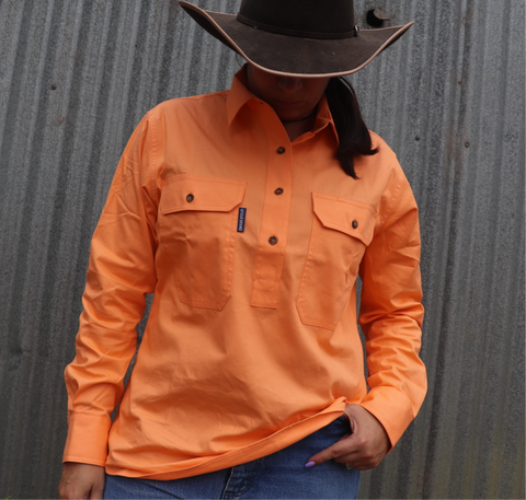 GFOUR BRAND 'The Mackenzie' Women's Half Button Workshirt - Tangerine