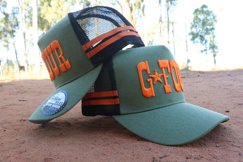 "GFOUR Brand High Profile CANVAS Trucker Cap - The ""Major"" Orange"