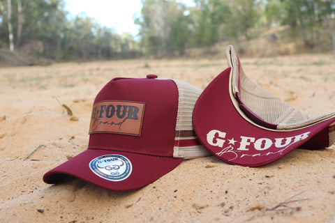 GFOUR Brand High Profile Trucker Cap - Leather Patch - Maroon