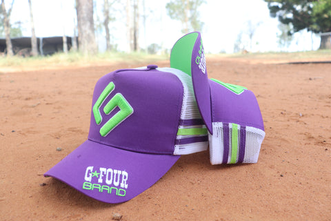 "GFOUR Brand High Profile Cap- ""G4"" Purple/Lime"