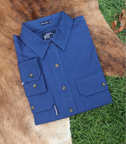 GFOUR Brand 'The Dawson' Mens Half Button Workshirt - Heritage Blue