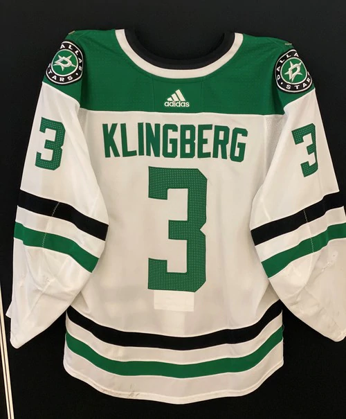 JOHN KLINGBERG 18/19 GAME WORN SET 2 AWAY JERSEY