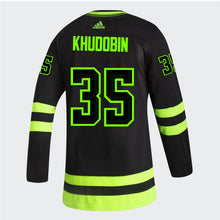 Load image into Gallery viewer, DALLAS STARS ADIDAS BLACKOUT 3RD ANTON KHUDOBIN AUTHENTIC PRO JERSEY