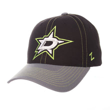 Load image into Gallery viewer, DALLAS STARS ZEPHYR BLACK AND GREY STAPLE HAT