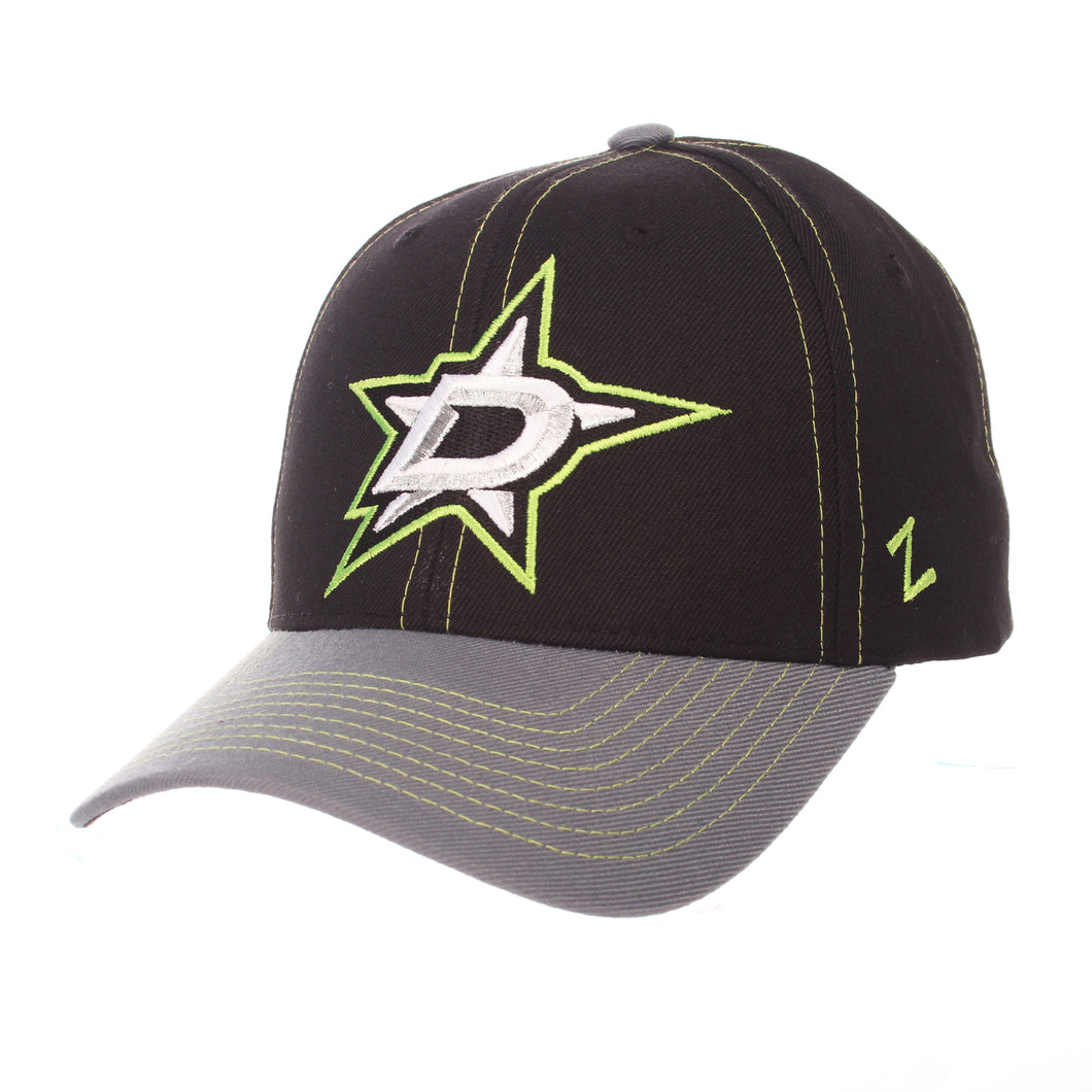 DALLAS STARS ZEPHYR BLACK AND GREY STAPLE HAT