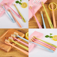 4PCs Soft Adult Wheat Straw Toothbrush Bamboo Charcoal Bristle Oral Care