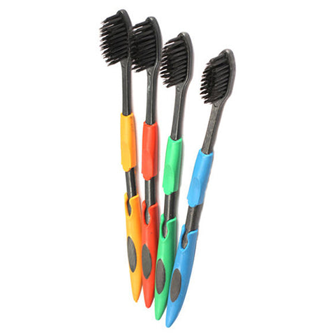 4 Pcs Soft Toothbrush Faux Bamboo Charcoal Nano Brush Oral Dental Care Set