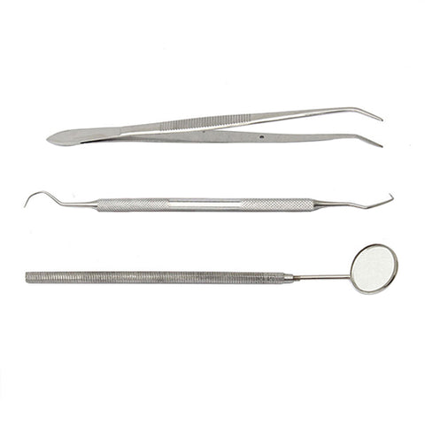 3 Pcs Handle Dental Tool Pick Scaler Mirror Set Stainless Steel Teeth Clean