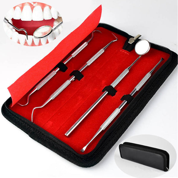 4Pcs Dental Teeth Whitening Cleaning Tool Scraper with Mirror Oral Hygiene Kit